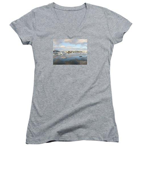 Jokulsarlon Glacier Lagoon Women's V-Neck T-Shirt