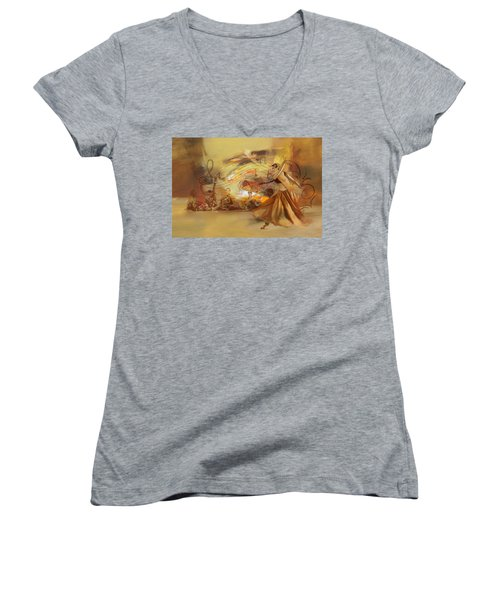 Kathak Dancer 4 Women's V-Neck T-Shirt (Junior Cut)