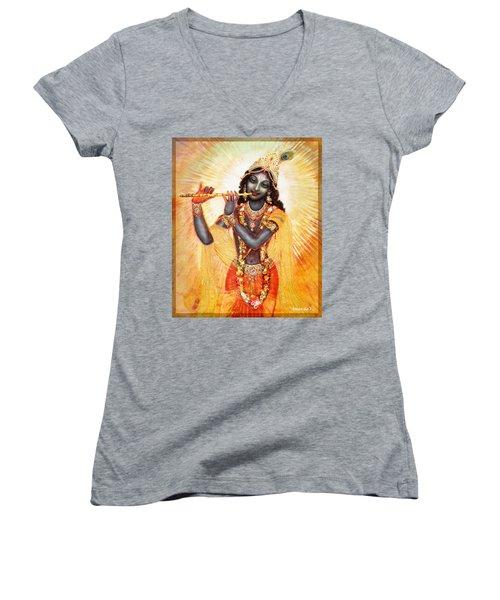 Krishna With The Flute Women's V-Neck T-Shirt