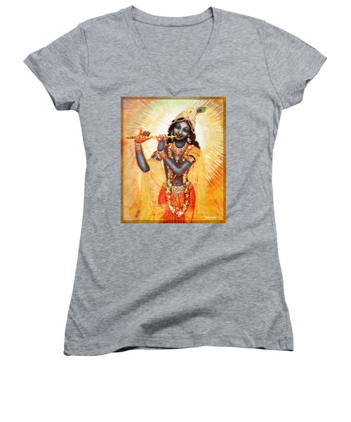 Krishna With The Flute Women's V-Neck (Athletic Fit)