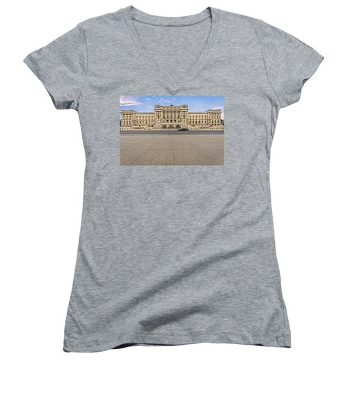 Women's V-Neck T-Shirt (Junior Cut) featuring the photograph Library Of Congress by Peter Lakomy