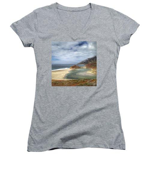 Little Sur River In Big Sur Women's V-Neck T-Shirt