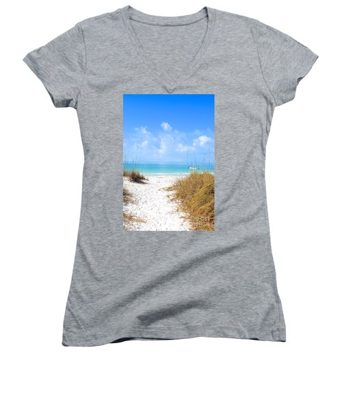 Women's V-Neck T-Shirt (Junior Cut) featuring the photograph Anna Maria Island Escape by Margie Amberge