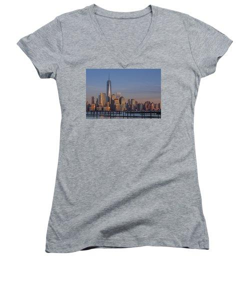Lower Manhattan Skyline Women's V-Neck T-Shirt (Junior Cut) by Susan Candelario