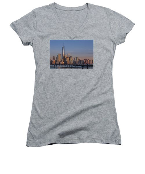 Lower Manhattan Skyline Women's V-Neck