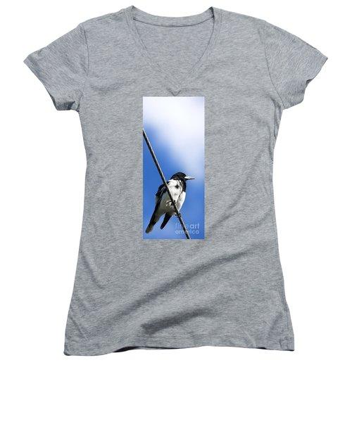 Magpie Up High Women's V-Neck T-Shirt (Junior Cut) by Jorgo Photography - Wall Art Gallery