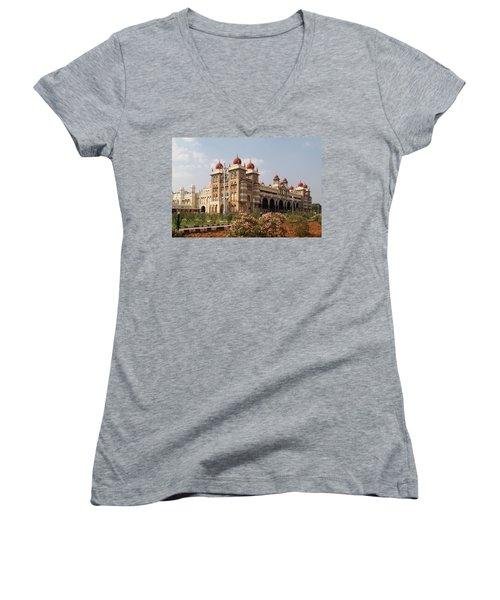 Maharaja's Palace And Garden India Mysore Women's V-Neck T-Shirt (Junior Cut) by Carol Ailles