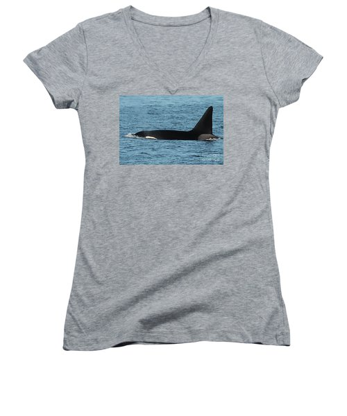 Women's V-Neck T-Shirt (Junior Cut) featuring the photograph Male Orca Killer Whale In Monterey Bay California 2013 by California Views Mr Pat Hathaway Archives