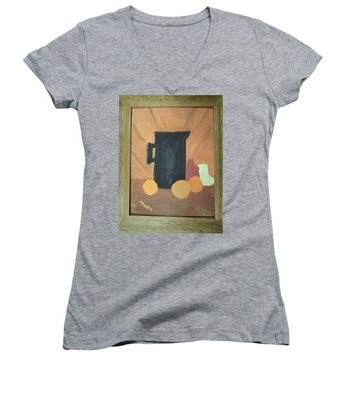 Women's V-Neck T-Shirt (Junior Cut) featuring the painting #1 by Mary Ellen Anderson