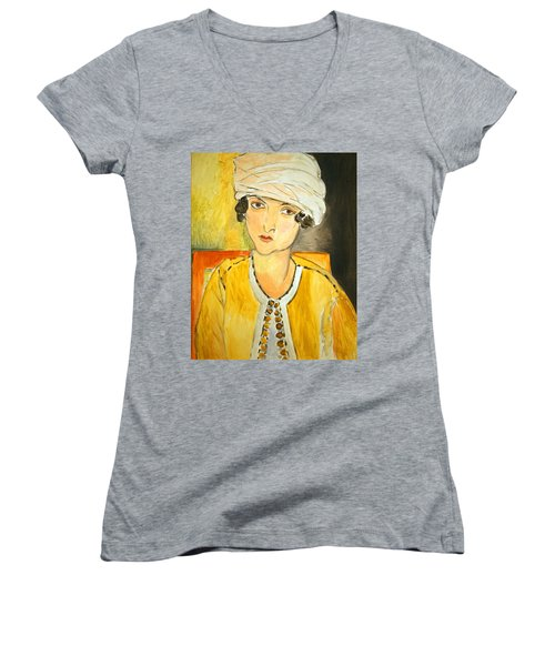Matisse's Lorette With Turban And Yellow Jacket Women's V-Neck (Athletic Fit)