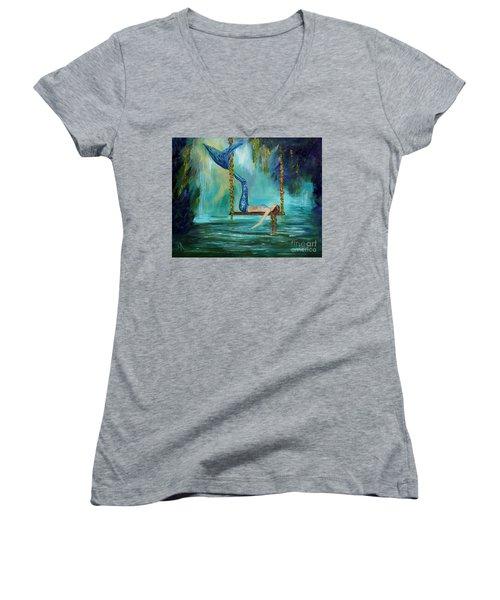 Mermaids Lazy Lagoon Women's V-Neck T-Shirt (Junior Cut) by Leslie Allen