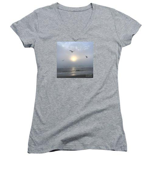 Moment Of Grace Women's V-Neck T-Shirt (Junior Cut) by LeeAnn Kendall