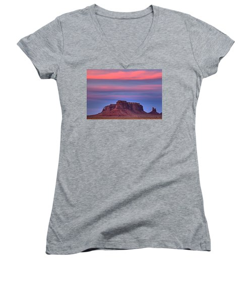 Monument Valley Sunset Women's V-Neck T-Shirt (Junior Cut) by Alan Vance Ley