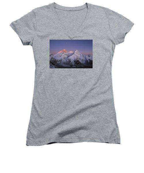 Moon Over Mount Everest Summit Women's V-Neck