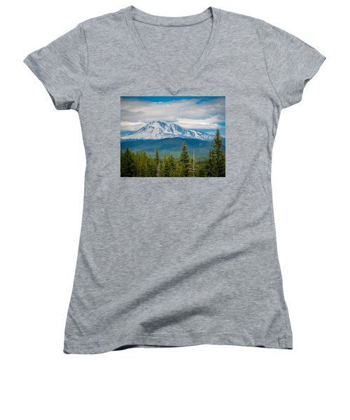 Mt. Adams From Indian Heaven Wilderness Women's V-Neck (Athletic Fit)