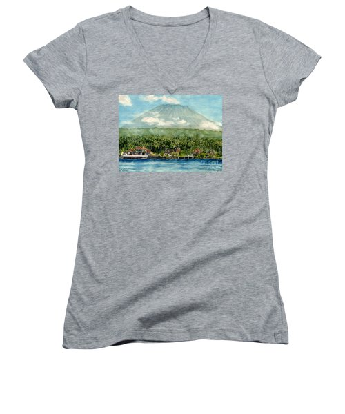Women's V-Neck T-Shirt (Junior Cut) featuring the painting Mt. Agung Bali Indonesia by Melly Terpening