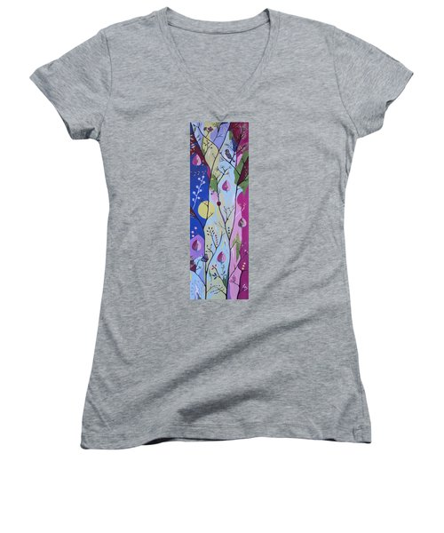 Women's V-Neck T-Shirt (Junior Cut) featuring the painting Nature's Bounty by Kathleen Sartoris