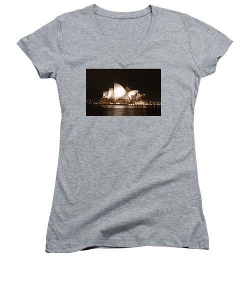 Night At The Opera Women's V-Neck T-Shirt (Junior Cut) by Ellen Henneke
