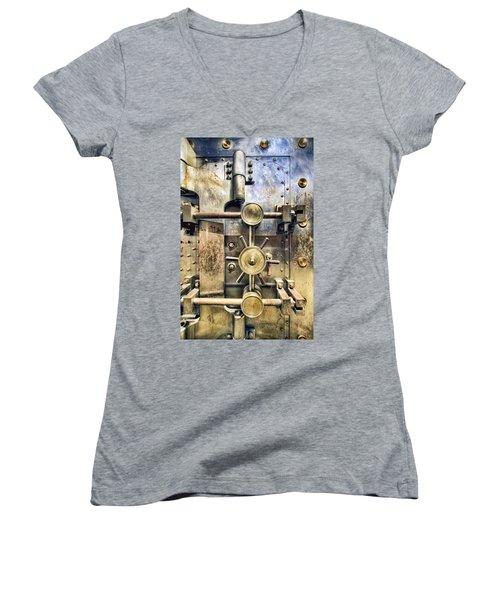 Old Bank Vault In Historic Building Women's V-Neck T-Shirt