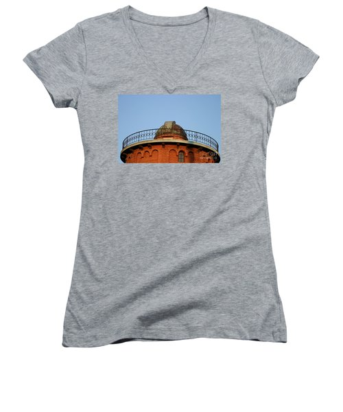 Women's V-Neck T-Shirt (Junior Cut) featuring the photograph Old Observatory by Henrik Lehnerer