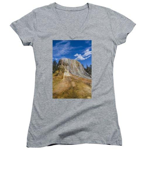 Orange Spring Mound Yellowstone National Park Women's V-Neck T-Shirt