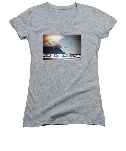 Sea Women's V-Neck T-Shirt (Junior Cut) featuring the photograph Oregon Coast  by Aaron Berg