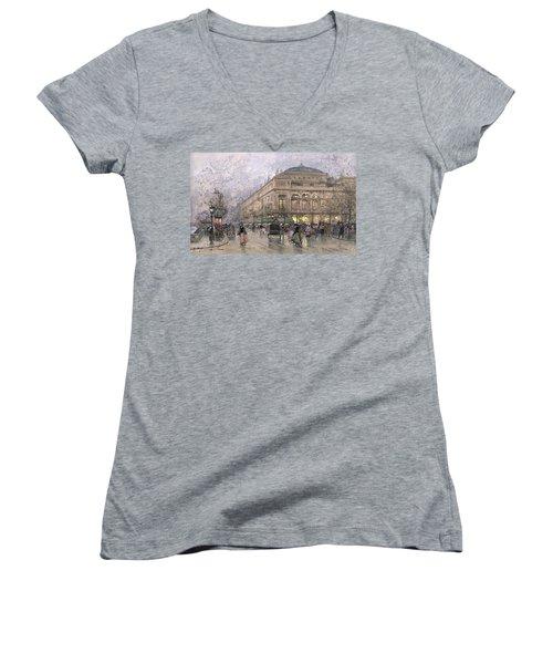 Parisian Street Scene Women's V-Neck T-Shirt (Junior Cut) by Eugene Galien-Laloue