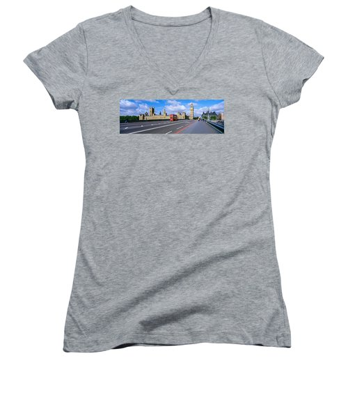 Parliament Big Ben London England Women's V-Neck T-Shirt (Junior Cut) by Panoramic Images