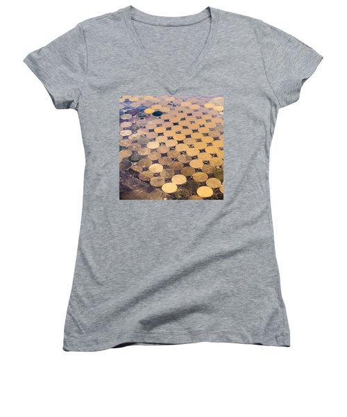 Patchworks. Aerial View To Texas's Fields Women's V-Neck T-Shirt (Junior Cut)