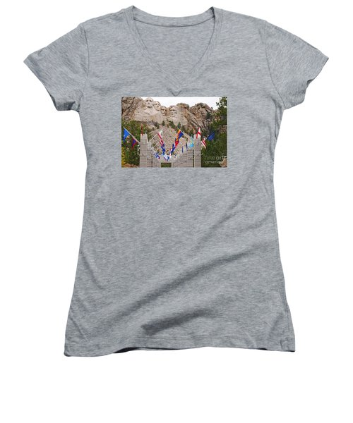 Women's V-Neck T-Shirt (Junior Cut) featuring the photograph Patriotic Faces by Mary Carol Story