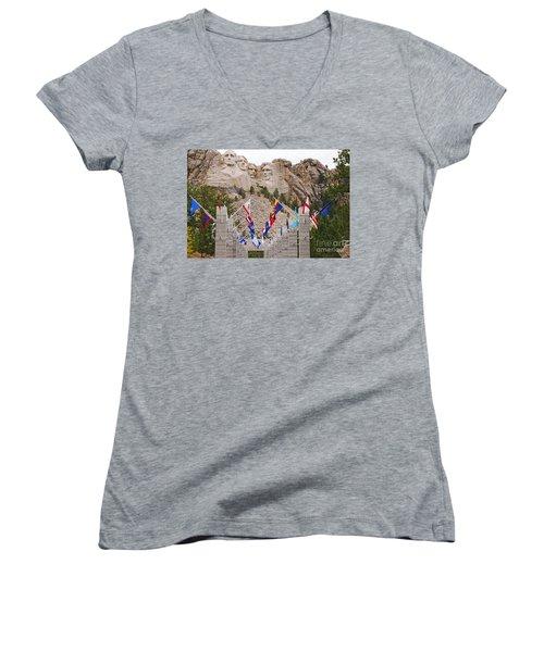 Patriotic Faces Women's V-Neck T-Shirt (Junior Cut) by Mary Carol Story