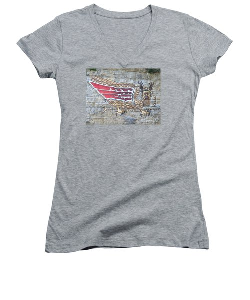 Piasa Bird Women's V-Neck T-Shirt (Junior Cut) by Kelly Awad
