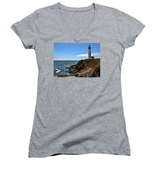 Pigeon Point Lighthouse Women's V-Neck T-Shirt (Junior Cut) by Judy Vincent