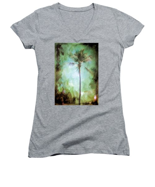 Women's V-Neck T-Shirt (Junior Cut) featuring the photograph Pleasant Night To Be Alone by Jan Amiss Photography