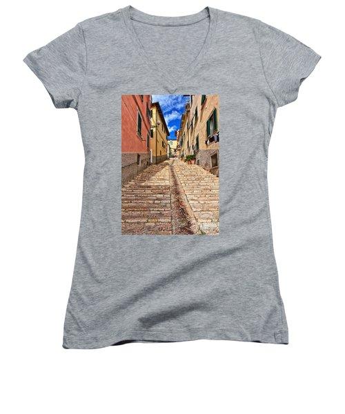 Portoferraio - Isle Of Elba Women's V-Neck T-Shirt (Junior Cut) by Antonio Scarpi