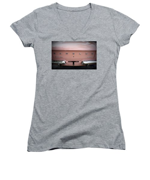 Women's V-Neck T-Shirt (Junior Cut) featuring the photograph Pretty In Pink by Laurie Perry