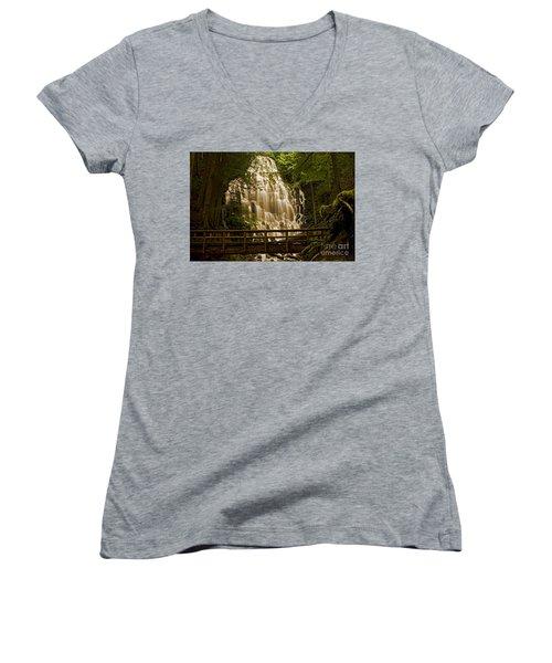 Ramona Falls Women's V-Neck T-Shirt (Junior Cut) by Nick  Boren