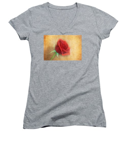 Red Rose  Women's V-Neck