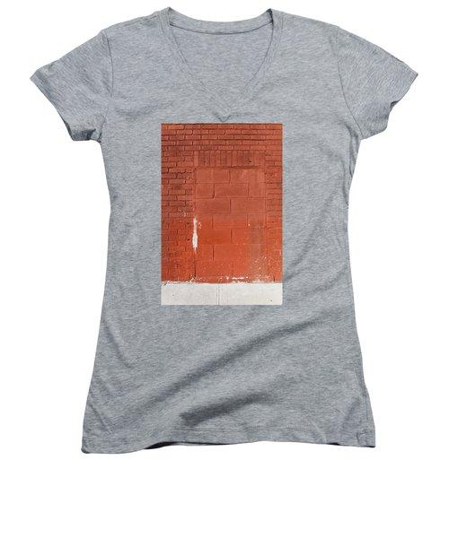Red Wall With Immured Door Women's V-Neck T-Shirt (Junior Cut)