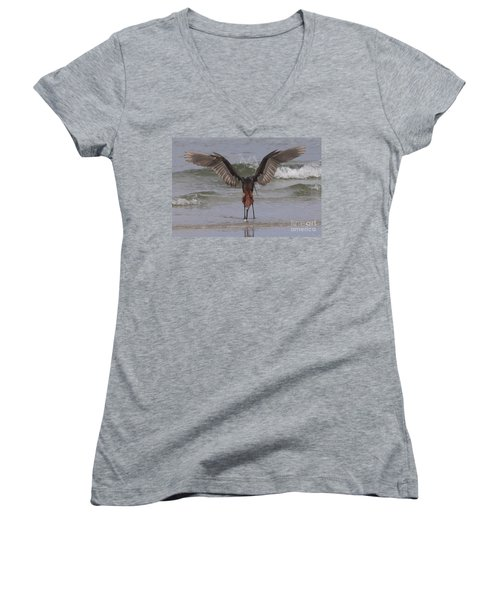 Reddish Egret Fishing Women's V-Neck T-Shirt
