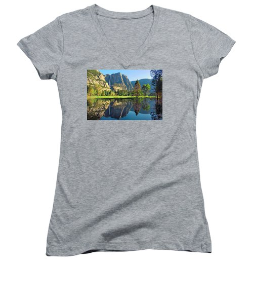 Reflections Of Yosemite Falls Women's V-Neck T-Shirt (Junior Cut) by Lynn Bauer