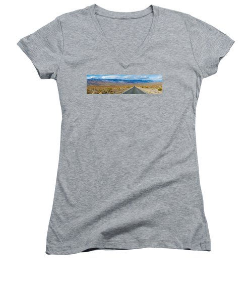 Road Passing Through A Desert, Death Women's V-Neck T-Shirt (Junior Cut) by Panoramic Images
