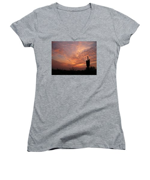 Saguaro Sunset Women's V-Neck (Athletic Fit)