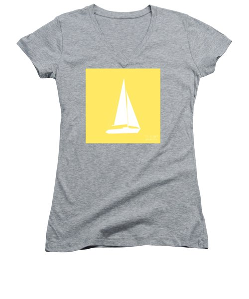 Sailboat In Yellow And White Women's V-Neck T-Shirt