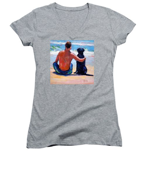 Women's V-Neck T-Shirt (Junior Cut) featuring the painting Sand Sea You Me by Molly Poole