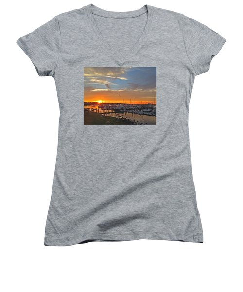 Seagull Sunset Women's V-Neck T-Shirt (Junior Cut) by Todd Breitling