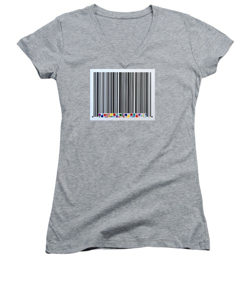 Women's V-Neck T-Shirt (Junior Cut) featuring the painting Sharing by Thomas Gronowski