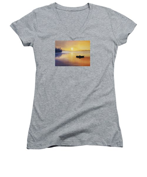 Women's V-Neck T-Shirt (Junior Cut) featuring the painting Silence by Vesna Martinjak