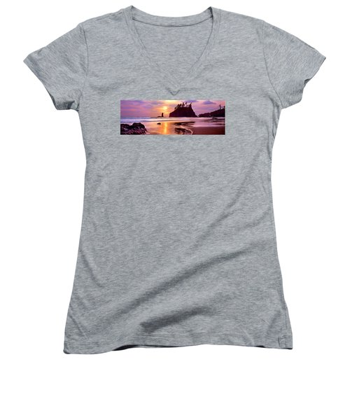 Silhouette Of Sea Stacks At Sunset Women's V-Neck T-Shirt (Junior Cut) by Panoramic Images