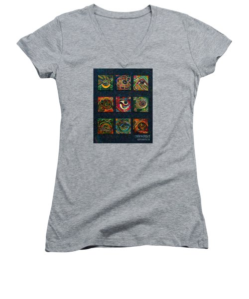 Women's V-Neck T-Shirt (Junior Cut) featuring the painting Spirit Eye Collection II by Deborha Kerr